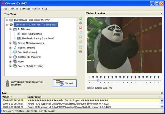 Скриншот программы convertxtodvd