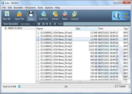 Скриншот программы winiso для windows 10