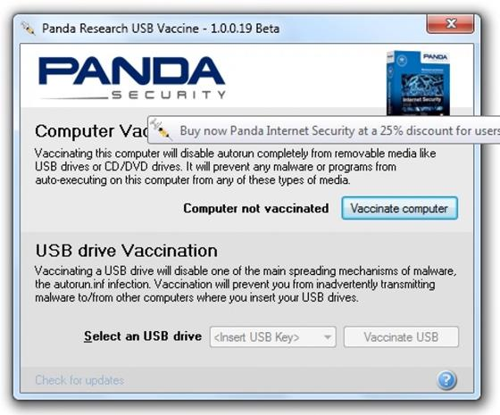 Скриншот программы panda usb vaccine