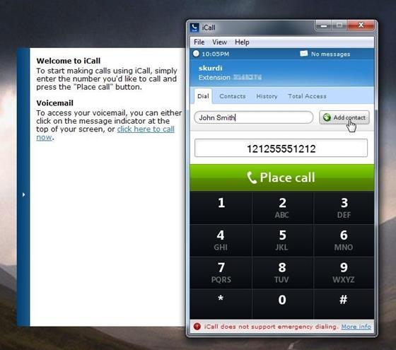 Скриншот программы icall