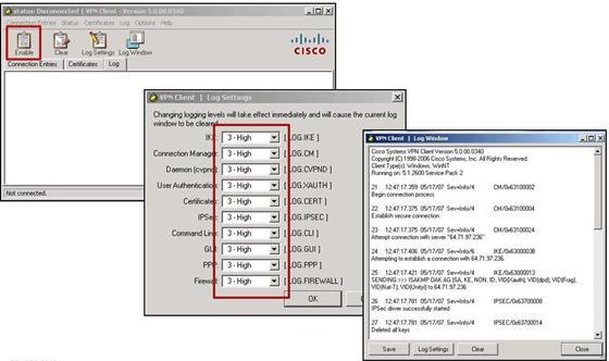 Скриншот программы cisco vpn client