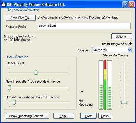 Скриншот программы rip vinyl