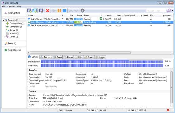 Скриншот программы bittorrent