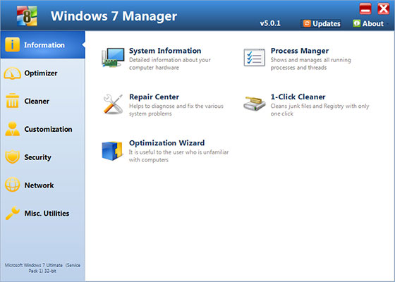 Скриншот программы windows 7 manager
