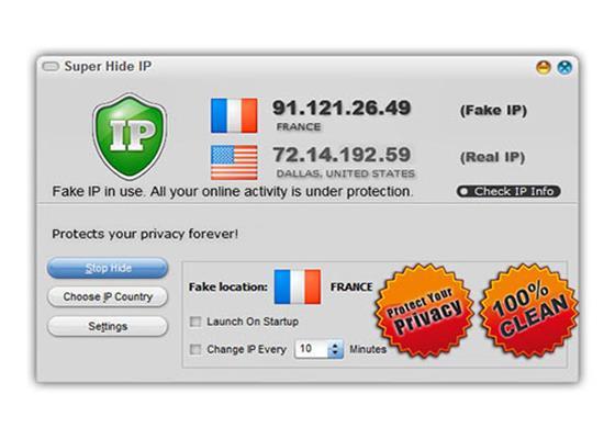 Скриншот программы super hide ip