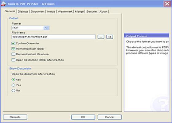 Скриншот программы bullzip pdf printer для windows 10