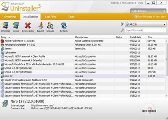 Скриншот программы ashampoo uninstaller для windows 10