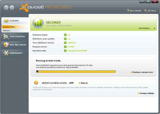 Скриншот программы avast internet security