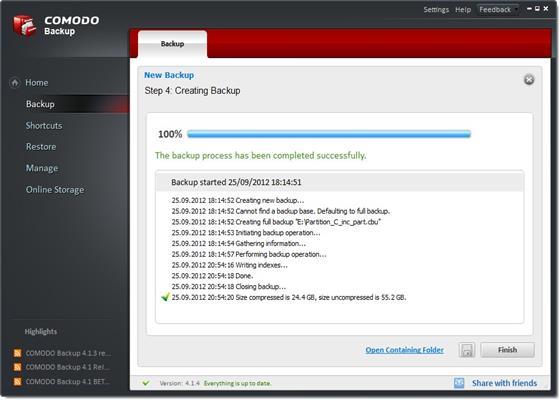 Скриншот программы comodo backup