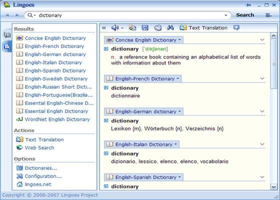 Скриншот программы lingoes