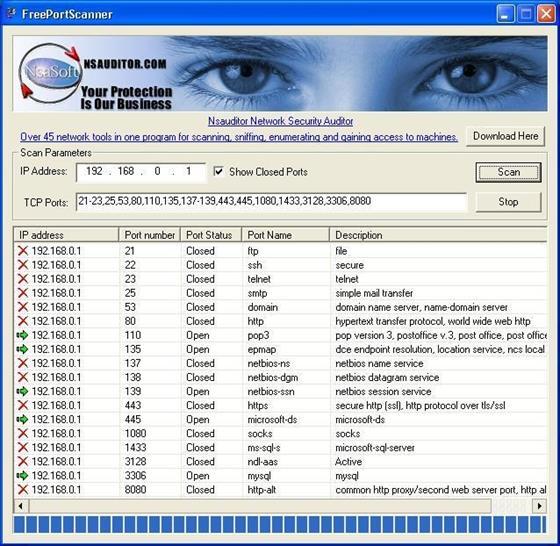 Скриншот программы free port scanner