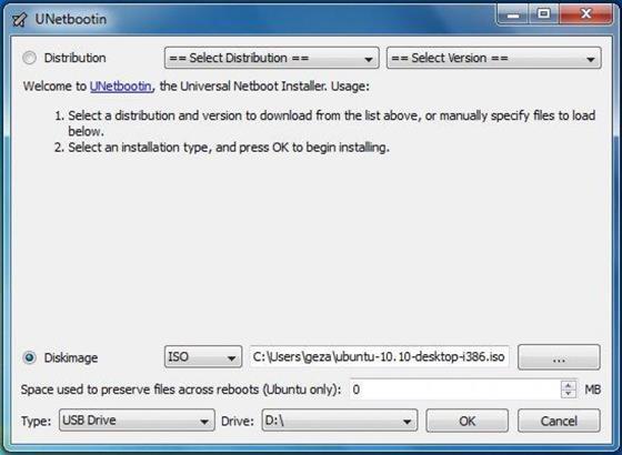 Скриншот программы unetbootin