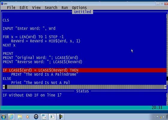 Скриншот программы qbasic