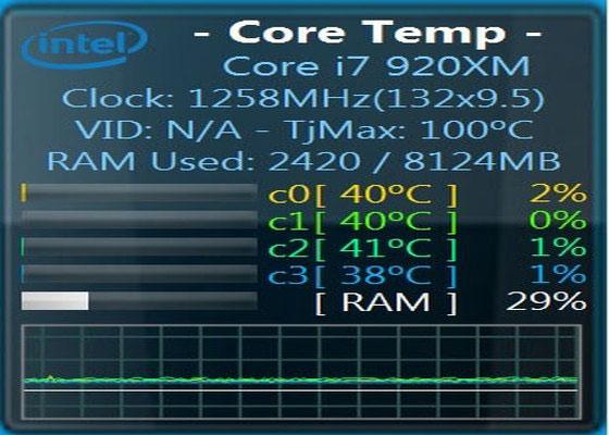 Скриншот программы core temp для windows 7