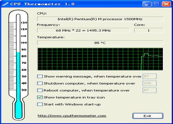Скриншот программы cpu thermometer