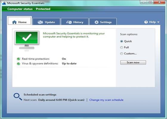 Скриншот программы microsoft security essentials