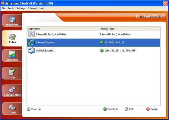 Скриншот программы ashampoo firewall