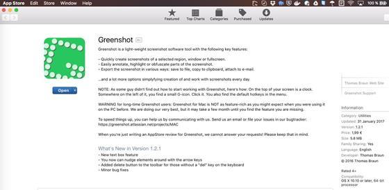 Скриншот программы greenshot