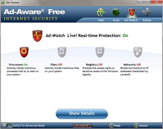 Скриншот программы ad-aware