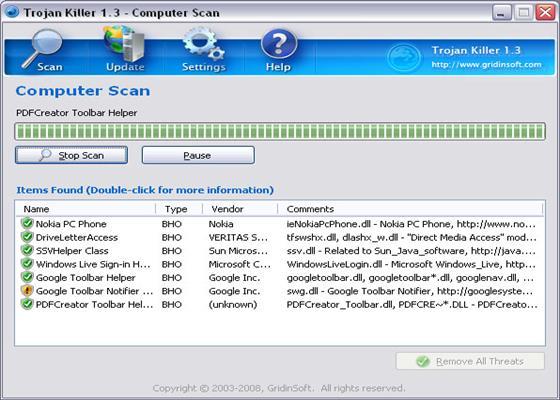 Скриншот программы trojan killer