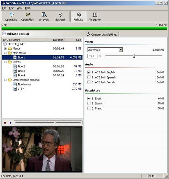 Скриншот программы dvd shrink