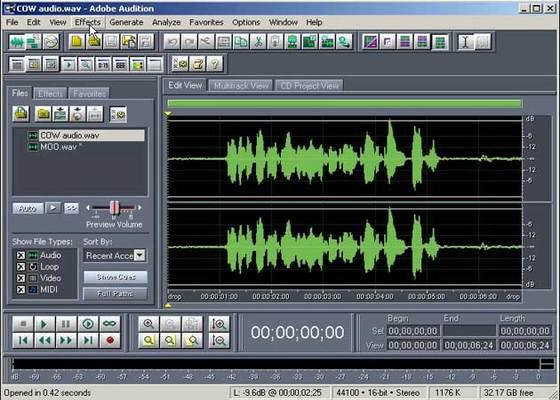 Скриншот программы adobe audition 3.0