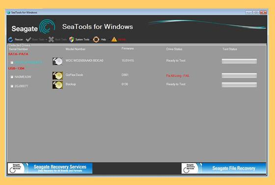 Скриншот программы seagate seatools