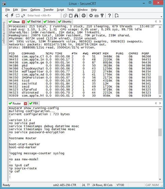Скриншот программы securecrt