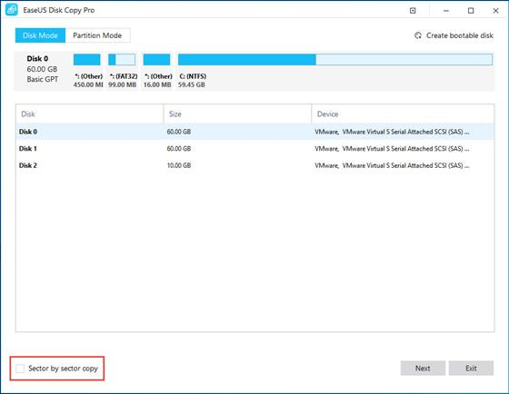 Скриншот программы easeus disk copy