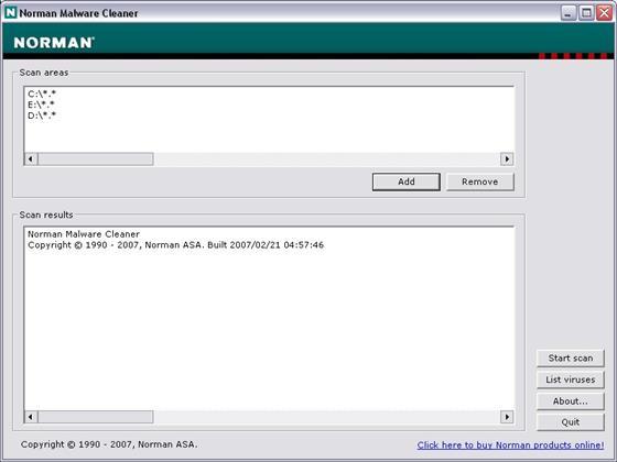 Скриншот программы norman malware cleaner