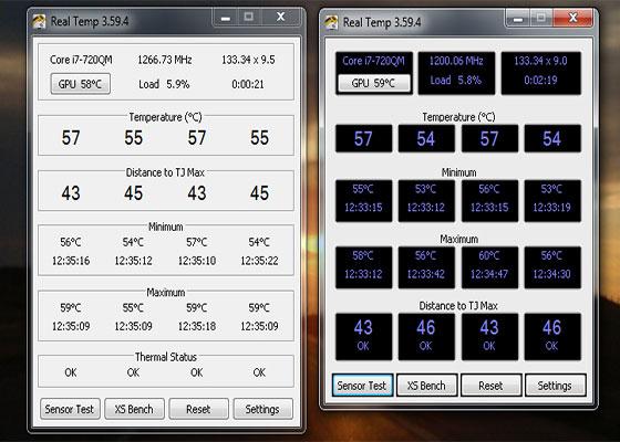 Скриншот программы real temp