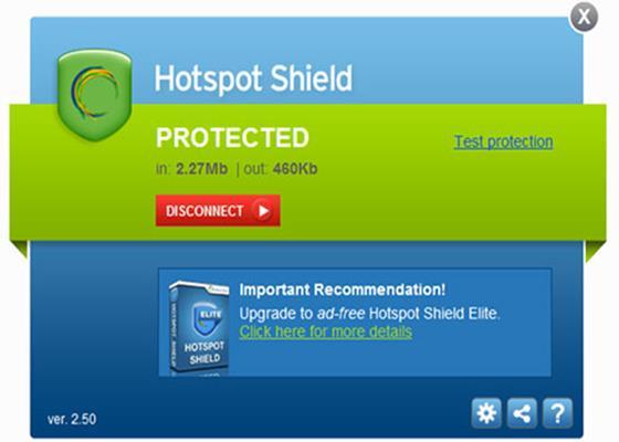 Скриншот программы hotspot shield elite 3.42
