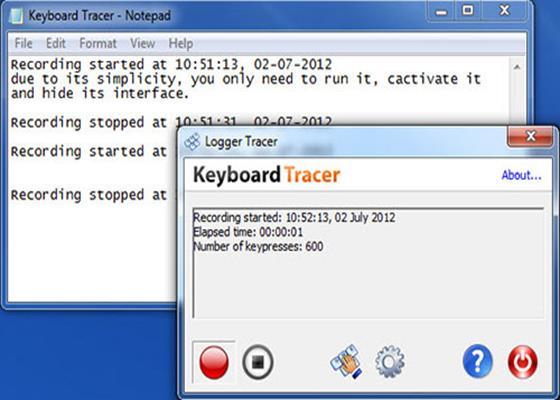 Скриншот программы keyboard tracer