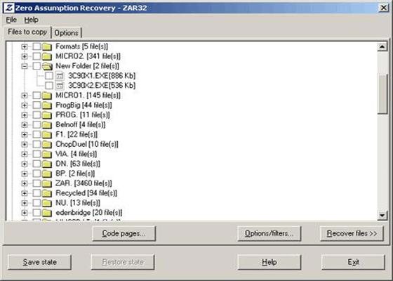 Скриншот программы zero assumption recovery