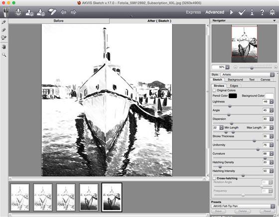 Скриншот программы akvis sketch