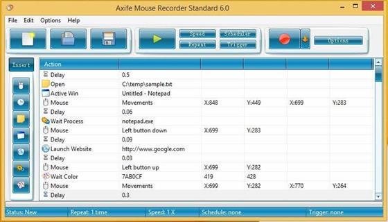 Скриншот программы mouse recorder
