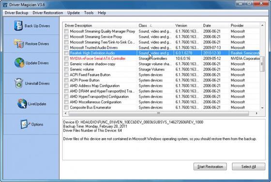 Скриншот программы driver magician