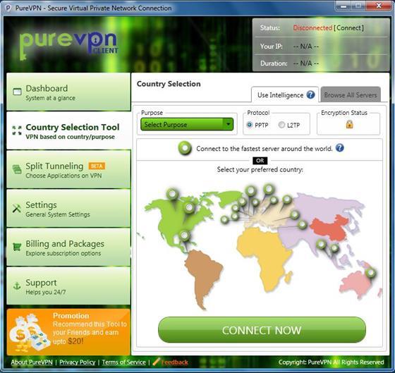 Скриншот программы purevpn
