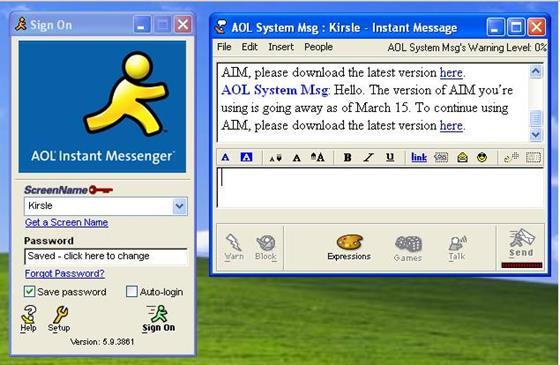Скриншот программы aol instant messenger