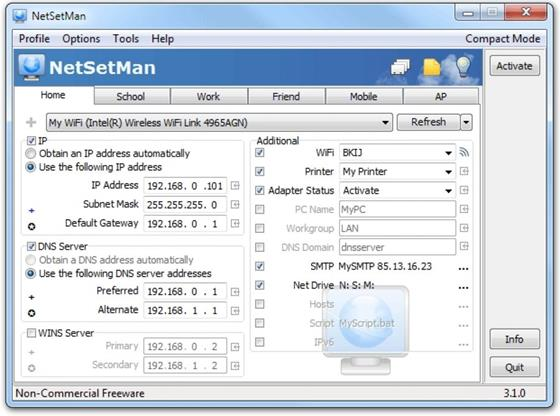 Скриншот программы netsetman