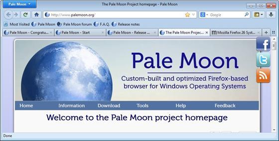 Скриншот программы pale moon