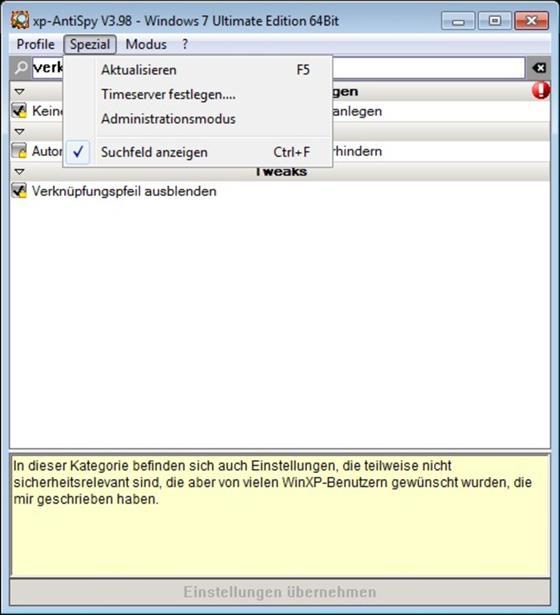 Скриншот программы xp-antispy
