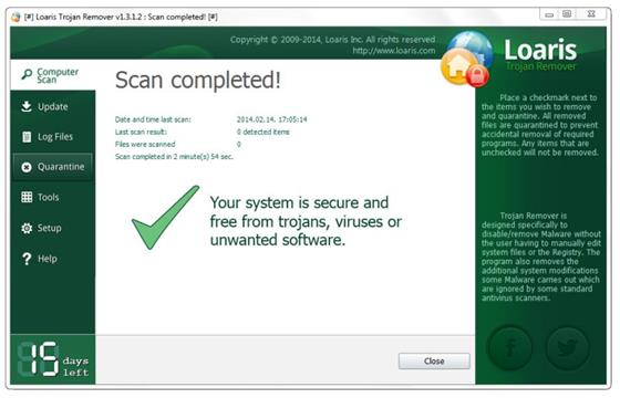 Скриншот программы loaris trojan remover