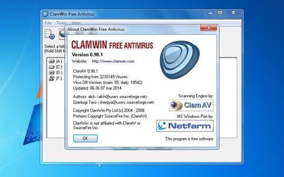 Скриншот программы clamwin free antivirus