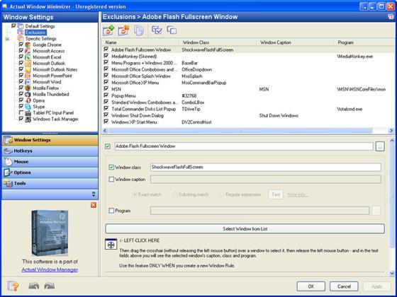 Скриншот программы actual window minimizer