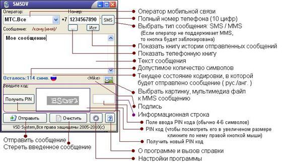 Скриншот программы smsdv