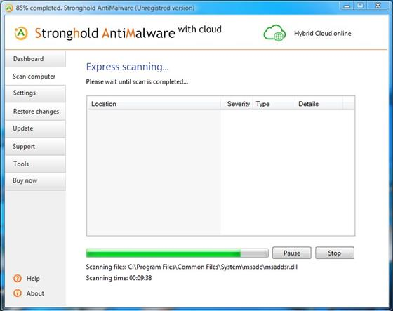 Скриншот программы stronghold antimalware