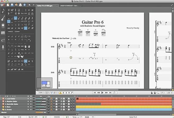Скриншот программы guitar pro