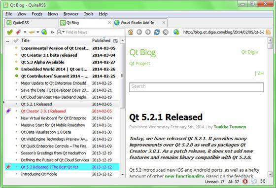 Скриншот программы quiterss