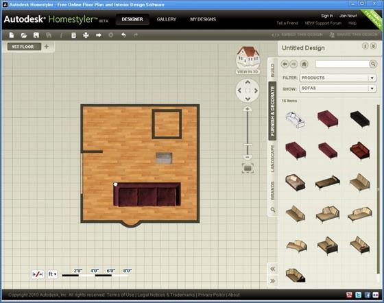 Скриншот программы autodesk homestyler